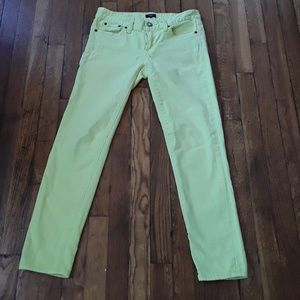 Jcrew lemon yellow toothpick jeans, 26